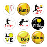 Painted metal 20mm snap buttons   Love  MOM  Print