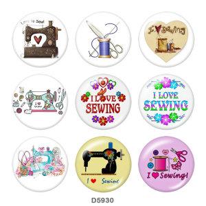 Окрашенный металл Окрашенный металл 20-миллиметровые кнопки Кнопки с кнопками Love to Sew Принт