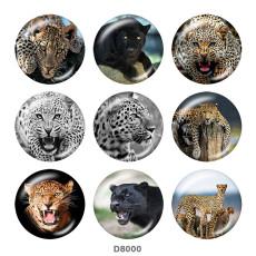 Boutons pression 20 mm en métal peint Imprimé Tigre Léopard