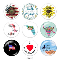 Painted metal 20mm snap buttons  USA Flag  Print