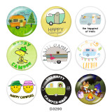 Painted metal 20mm snap buttons  CAR campers Print