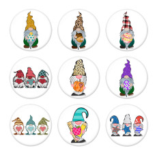 Painted metal 20mm snap buttons  Christmas Print