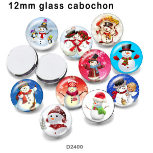10pcs/lot  Snowman   glass  picture printing products of various sizes  Fridge magnet cabochon