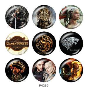 Boutons pression 20 mm en métal peint Game of Thrones