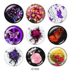 Boutons pression 20 mm en métal peint Imprimé Papillon Fleur