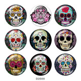 Painted metal 20mm snap buttons  skull