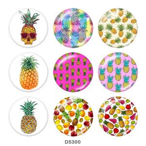 Painted metal 20mm snap buttons   pineapple Print Beach Ocean