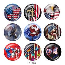 Boutons pression 20 mm en métal peint USA Eagle Flag Print