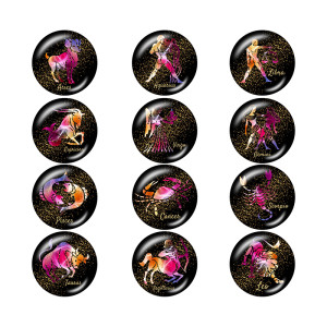 Painted metal 20mm snap buttons  Birthstone 12 constellations  snap bottom