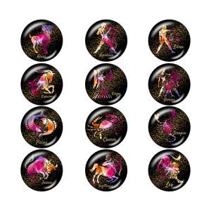 20 mm Druckknöpfe aus lackiertem Metall Birthstone 12 Konstellationen Druckknopfboden