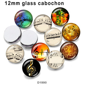10pcs/lot  Music  glass  picture printing products of various sizes  Fridge magnet cabochon
