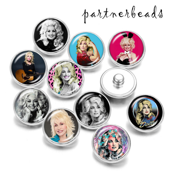 Painted metal 20mm snap buttons   Pretty Gir  Print
