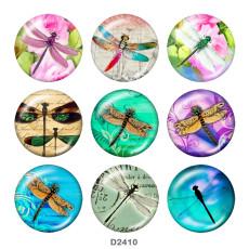 Boutons pression 20 mm en métal peint libellule Imprimé