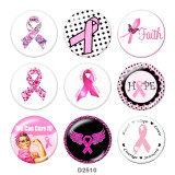 Painted metal 20mm snap buttons  Pink Ribbon