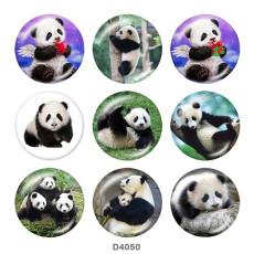Boutons pression 20 mm en métal peint panda Imprimer
