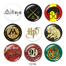 Botones a presión de metal pintado de 20 mm Estampado de Harry Potter