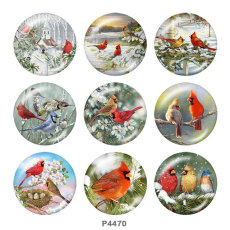 Boutons pression 20 mm en métal peint oiseau Imprimer