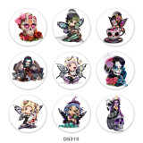 Painted metal 20mm snap buttons   Elves  Print