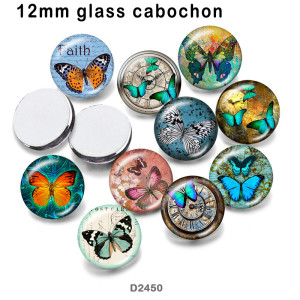 10pcs/lot  Butterfly  glass picture printing products of various sizes  Fridge magnet cabochon