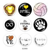 Boutons pression 20 mm en métal peint Imprimé Football Volleyball