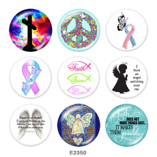 Painted metal 20mm snap buttons   Ribbon  Cross  Print