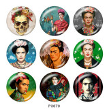 Painted metal 20mm snap buttons  Frida kahlo artist Print