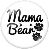 Boutons pression 20 mm en métal peint MOM maman ours Imprimer