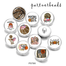 Painted metal 20mm snap buttons   Basketball  MOM  Print