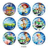 Painted metal 20mm snap buttons  Toy Story Mania Print