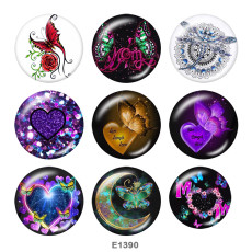 Painted metal 20mm snap buttons   Love  Butterfly  Print