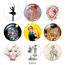 Painted metal 20mm snap buttons   Dance  Print