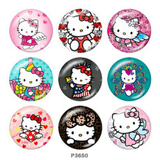 Painted metal 20mm snap buttons  Hello Kitty Print