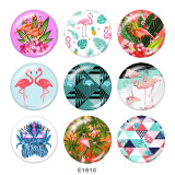 Painted metal 20mm snap buttons   Flamingo  Print