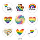 Bijoux en métal peint 20mm bouton pression amour gratuit Imprimer arc-en-ciel LGBT