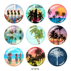 Painted metal 20mm snap buttons   beach  Print