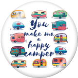 Painted metal 20mm snap buttons  car happy camper Print