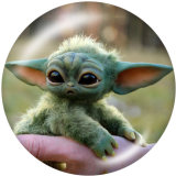 Painted metal 20mm snap buttons  Master Yoda Print
