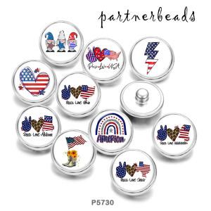 20mm Druckknöpfe aus lackiertem Metall Peace Love USA 4th Of July Print