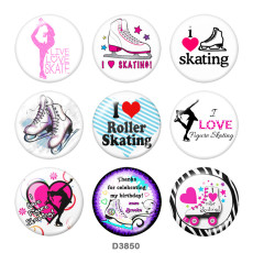 Painted metal 20mm snap buttons  skate  Print