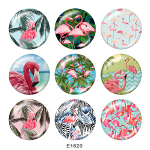 Painted metal 20mm snap buttons   Flamingo  Print Beach Ocean