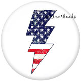 Painted metal 20mm snap buttons   Peace Love  USA 4th Of July  Print