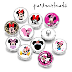 Painted metal 20mm snap buttons   Cartoon Mickey   Print