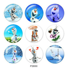 Painted metal 20mm snap buttons  Frozen Print