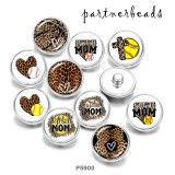 Painted metal 20mm snap buttons   MOM softball Print