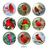 Painted metal 20mm snap buttons   bird  Print