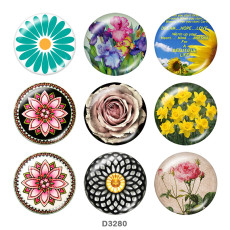 Painted metal 20mm snap buttons  flower Print