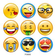 Painted metal 20mm snap buttons  emoji Print