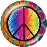 Painted metal 20mm snap buttons  Anti war symbol Print