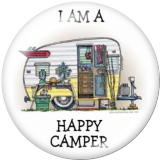 Painted metal 20mm snap buttons  happy camper Print