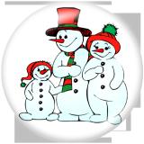 Boutons pression 20 mm en métal peint Imprimé bonhomme de neige de Noël